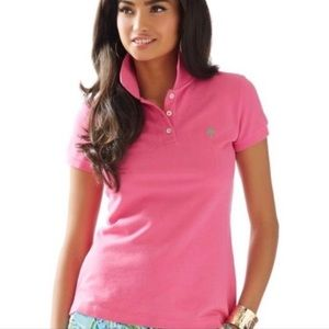 Lilly Pulitzer Hot Pink Island Polo Shirt Size XS